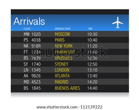 Airport arrival timetable illustration design over white background - stock photo