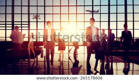 Airport Business Travel Walking Commuting Concept - stock photo