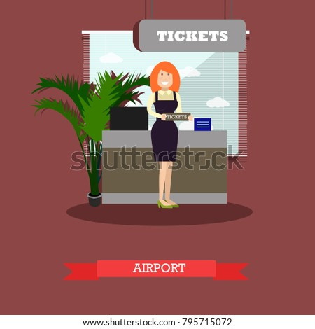 Airport concept illustration in flat style. Ticket agent standing in front of ticket counter flat style design element.