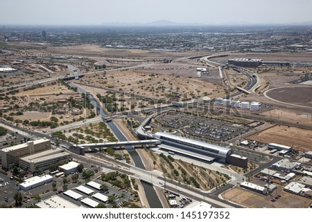 Airport connections as viewed from above in Phoenix, Arizona - stock photo
