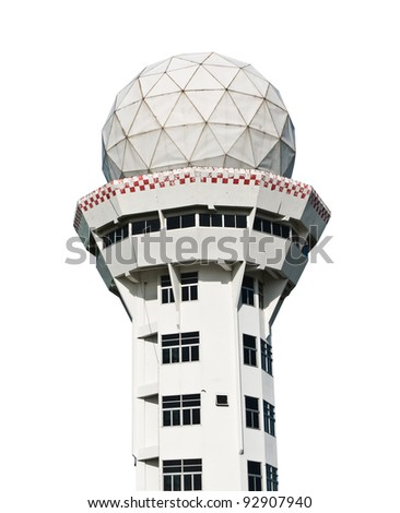 airport control tower on white with clipping path - stock photo