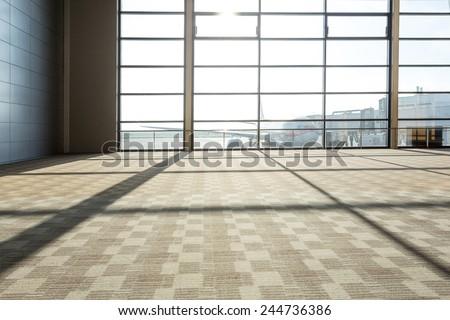 airport corridor interior - stock photo