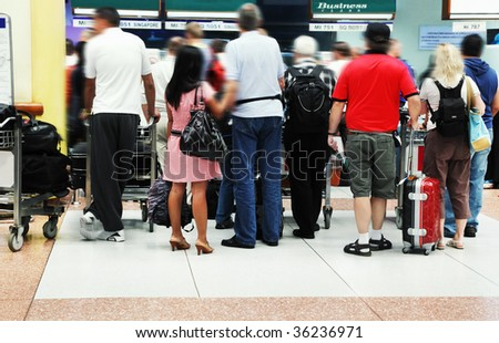 Airport crowd - stock photo