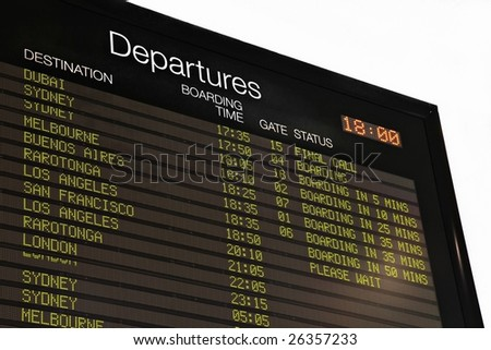 Airport departure board at Auckland airport