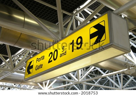 Airport departure gate sign - stock photo