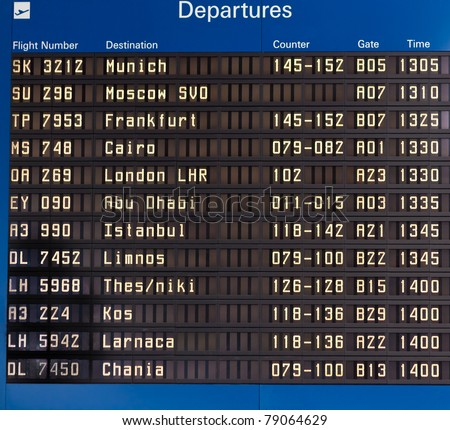 Airport departures information board and airport hall ceiling - air travel background - stock photo