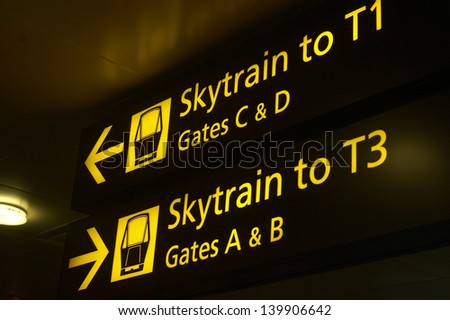 Airport directions at Singapore's Changi International Airport - stock photo