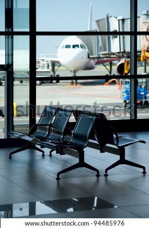 Airport / Empty Terminal / Waiting Area - stock photo