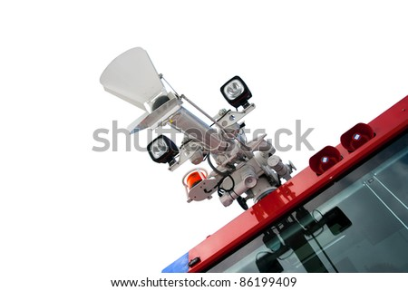 Airport firetruck water canon isolated