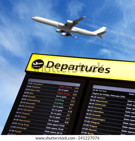 Airport flight information on a large screen international departure board and airplane flying overhead