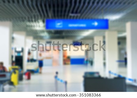 Airport gate. Blurred image. Suitable for background. - stock photo