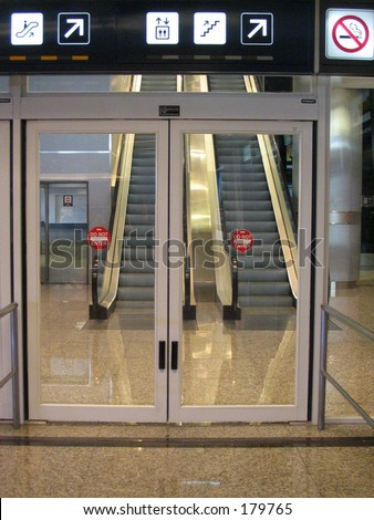 Airport gate door - stock photo