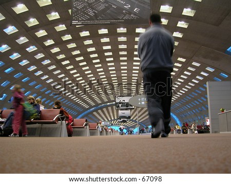 Airport hall of Charles de Gaulle International Airport, Paris. This hall collapsed in 2004 - stock photo