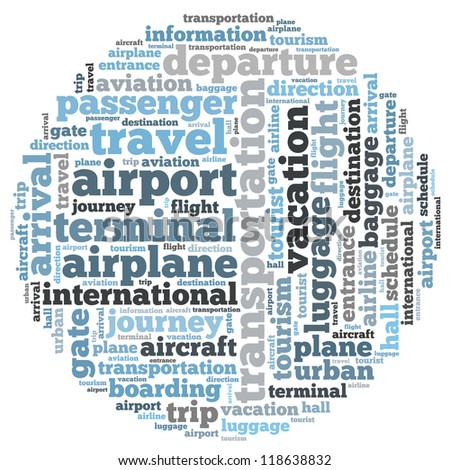 Airport info-text graphics and arrangement concept on white background (word cloud)