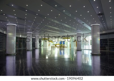 Airport interior sign and lights - stock photo