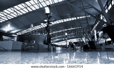 Airport Interior with a blue tint