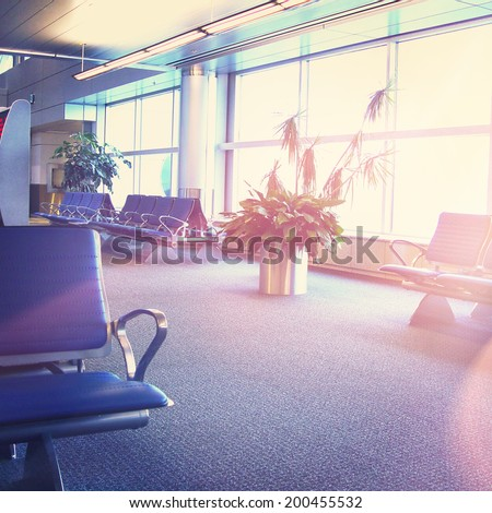 Airport interior with instagram effect  - stock photo