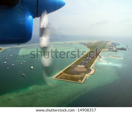 Airport Male in Maldives, view from the plane - stock photo