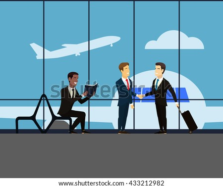 Airport. Meeting two businessmen. Handshake of two men in suits. Businessman with a suitcase on wheels. Takeoff. Man sits on a bench and reading a book. Large glass window in the airport hall.