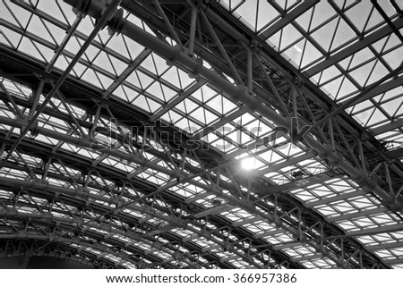 Airport roof construction, monochrome
