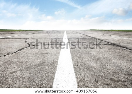 airport runway background and road and white mark  - stock photo