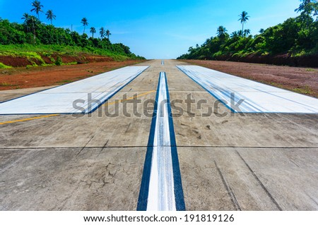 Airport runway for airplanes in Gibraltar - stock photo