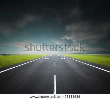 airport runway on a cloudy day, background