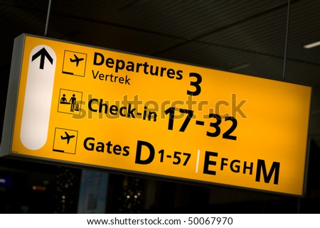 Airport sign at Schiphol, Amsterdam Airport, The Netherlands (Holland) - stock photo