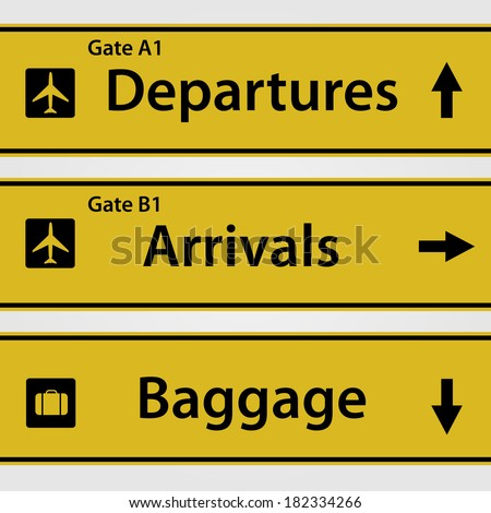 Airport Signs. EPS available in portfolio. - stock photo