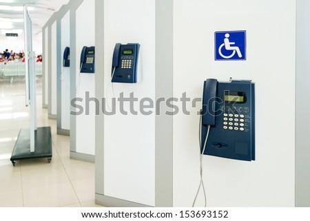 Airport telephone - stock photo