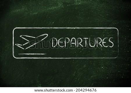 airport terminal departures sign - stock photo