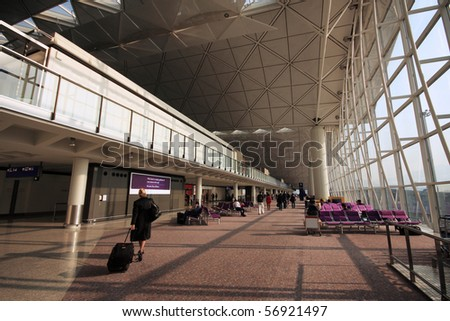 Airport terminal in the morning time , Hong Kong.