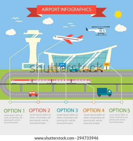Airport terminal infographic design elements with different transport vehicles, include plane, train, helicopter, cars, taxi - stock photo