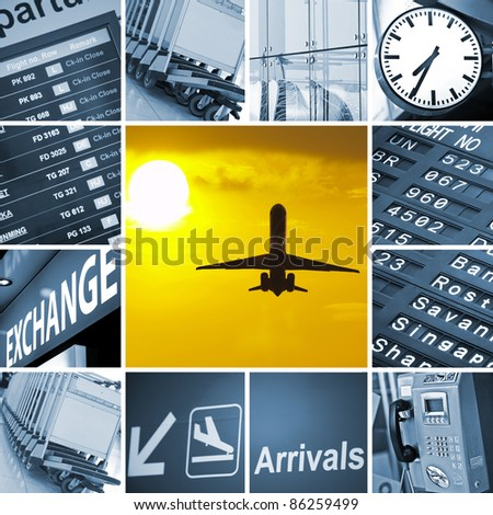 Airport theme mix composed of different images holiday, luggage, travel, travelling, trolley, airport, baggage, cart