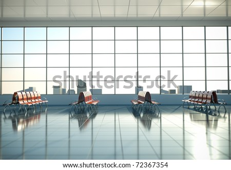 Airport waiting area. 3D render. - stock photo