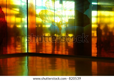 Airport walkway - stock photo