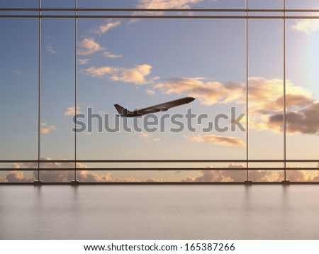 airport with window and airplane - stock photo