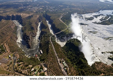 Airs picture of the Victoria Falls, Zambia, Africa - stock photo