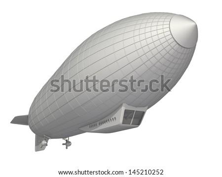 airship on a white background - stock photo