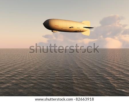 airship over the sea - stock photo