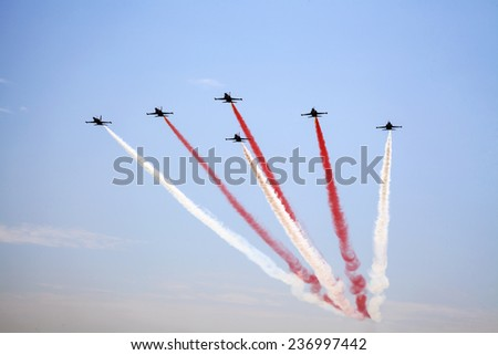 Airshow in the blue sky, Istanbul - stock photo