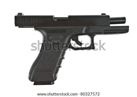 Airsoft hand gun, glock model - stock photo