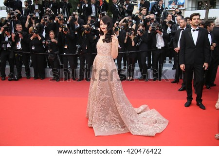 Aishwarya Rai attends 'The BFG' premier during the 69th Annual Cannes Film Festival on May 14, 2016 in Cannes. - stock photo