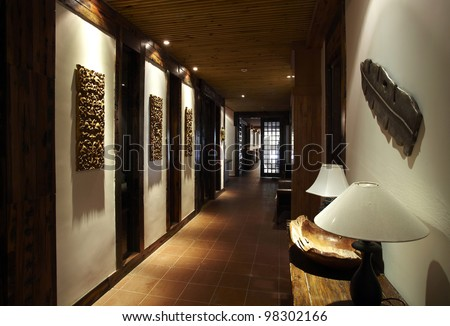 Aisle of the restaurant - stock photo
