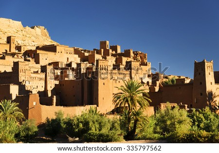 Ait Benhaddou kasbah, along the former caravan route between Sahara and Marrakesh, Morocco, situated in Souss Massa Draa on a hill along the Ounila River - stock photo