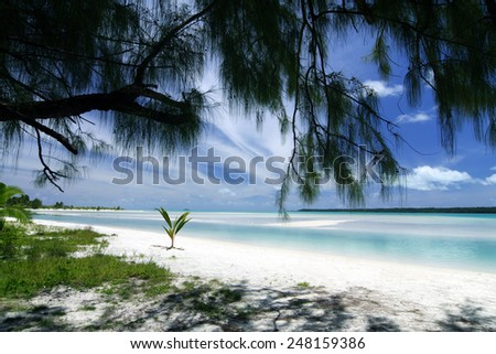 Aitutaki lagoon,  Cook Islands - stock photo