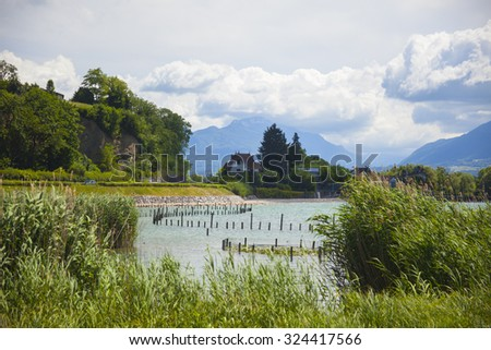 Aix-le-Bain lake in France, region Savoy - stock photo