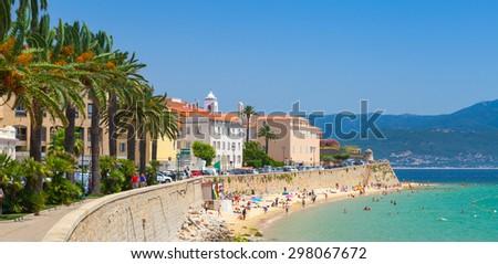 Ajaccio, Corsica, France. Coastal cityscape panorama - stock photo