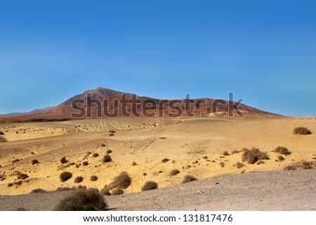 Ajaches mountain in Lanzarote Punta Papagayo at Canary Islands - stock photo