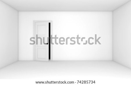 Ajar door in the empty white room